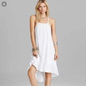 Free People White/Tan Embroidered Gauze Dress (S)